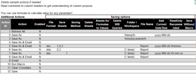 Excel Saving Scenarios